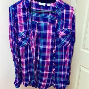 multi colored button down flannel